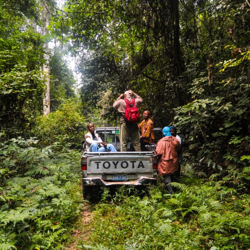 Forest rangers in a truck in the Mai Ndombe project, Democratic Republic of the Congo.