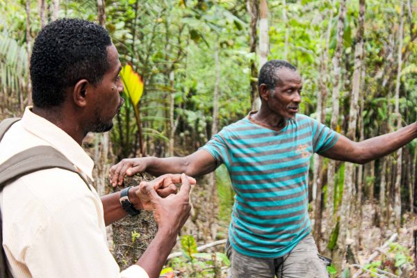Community members discussing banana agroforestry in the Pacific Forest Communities project, Colombia.