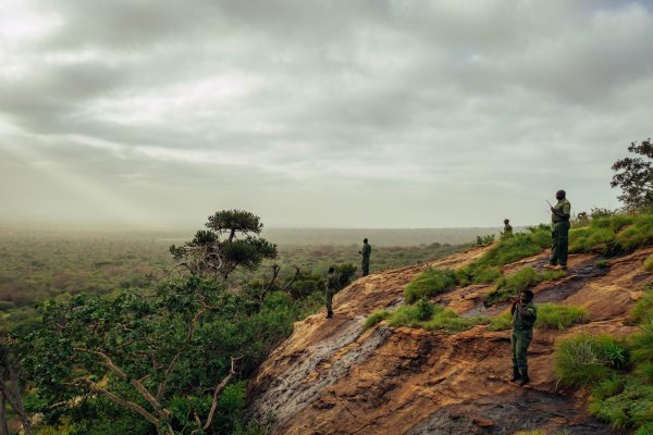 A hill overlooking the landscape between Tsavo East and West National Parks, Kenya. Photo credit: Filip C. Agoo for Wildlife Works Carbon.