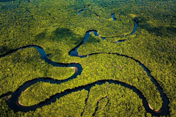 The Stung Proat River winds through the Southern Cardamom Rainforest, Cambodia.
